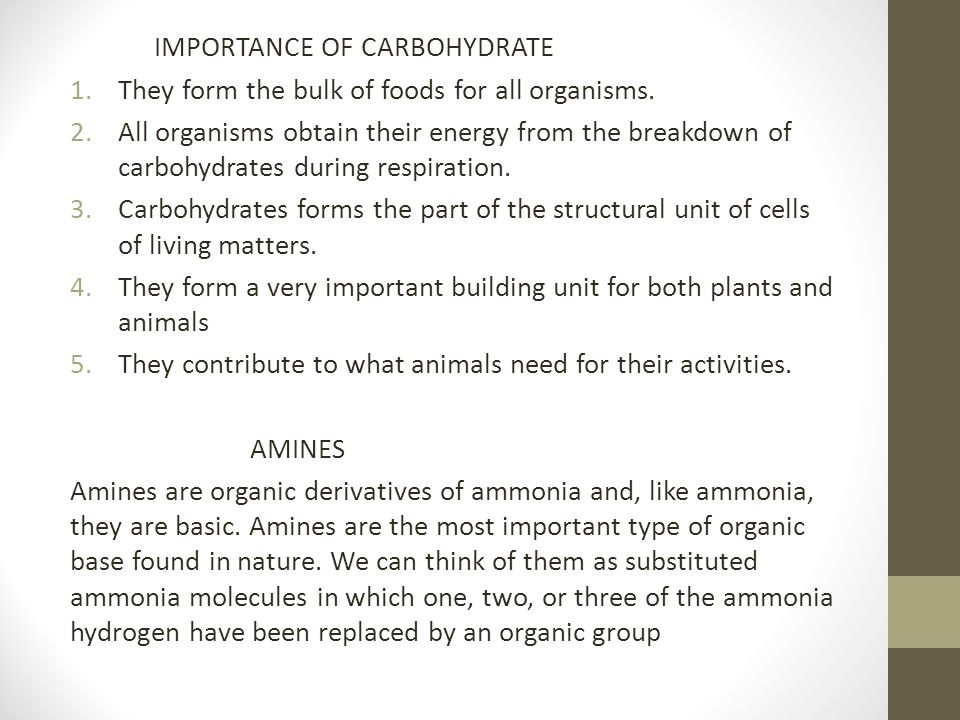 IMPORTANCE OF CARBOHYDRATE