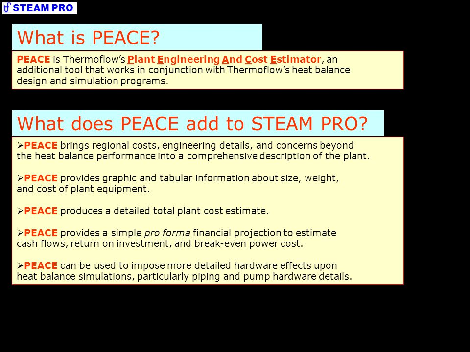 What does PEACE add to STEAM PRO