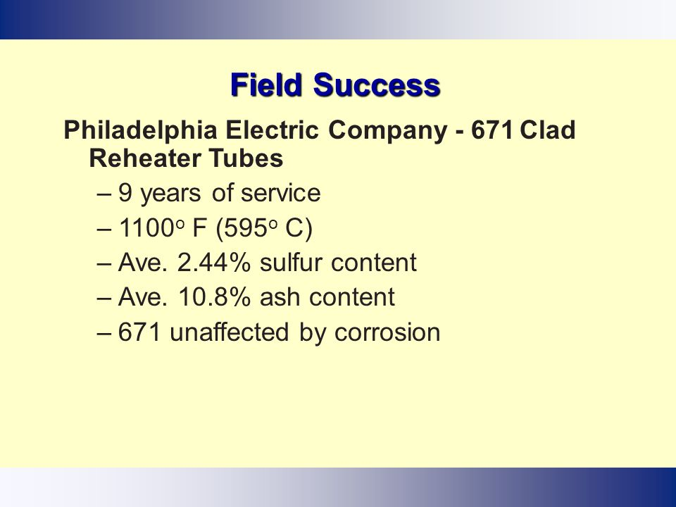 Field Success Philadelphia Electric Company - 671 Clad Reheater Tubes