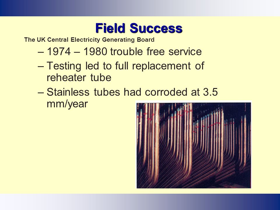 Field Success 1974 – 1980 trouble free service