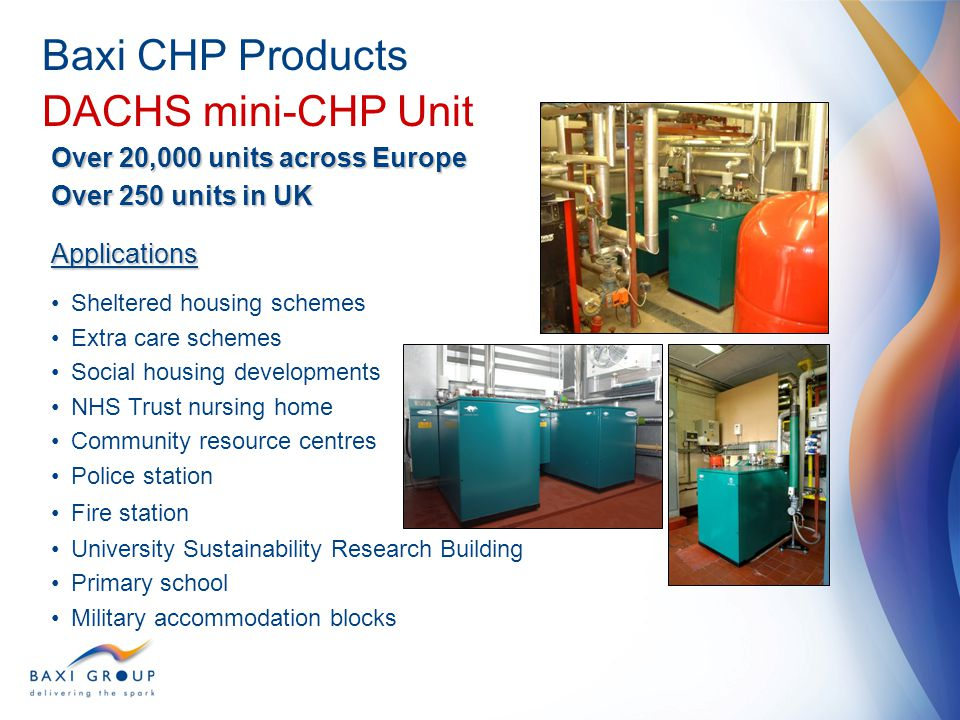 Baxi CHP Products DACHS mini-CHP Unit Over 20,000 units across Europe