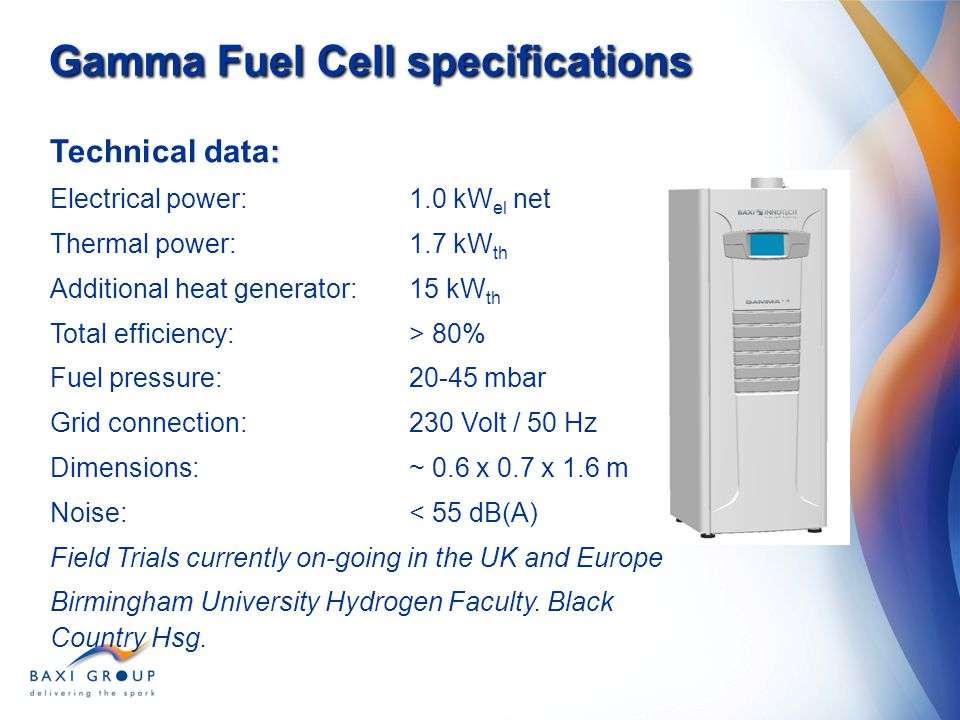 Gamma Fuel Cell specifications