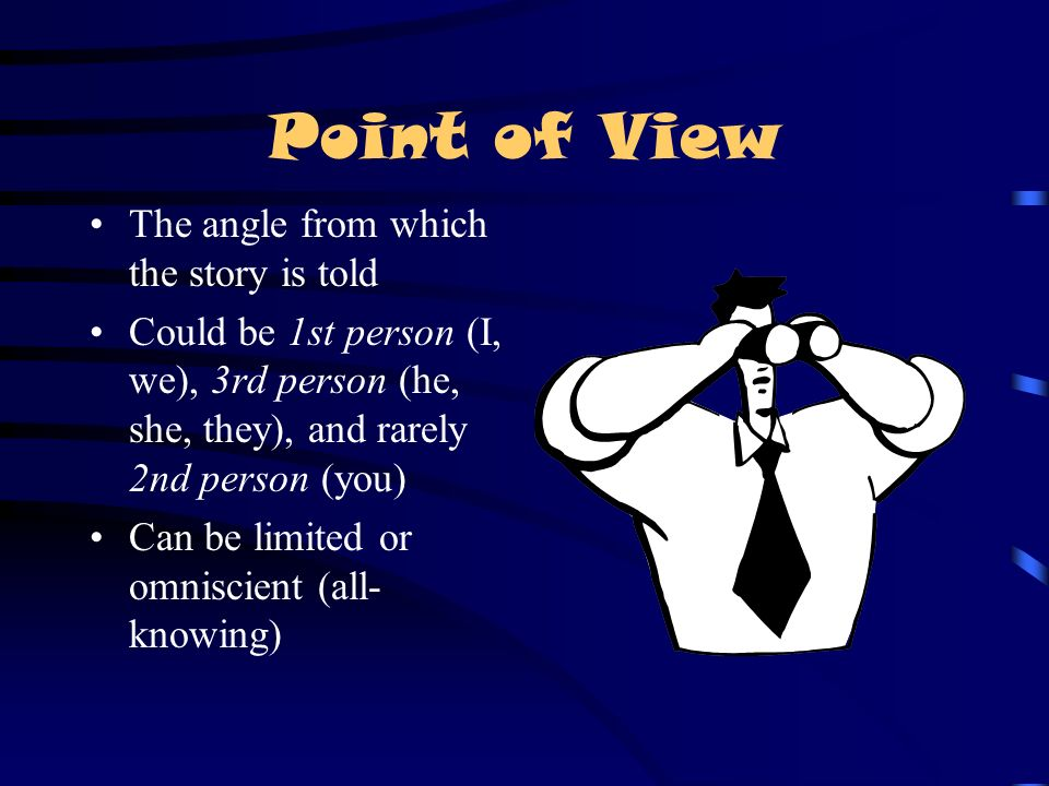 Point of View The angle from which the story is told