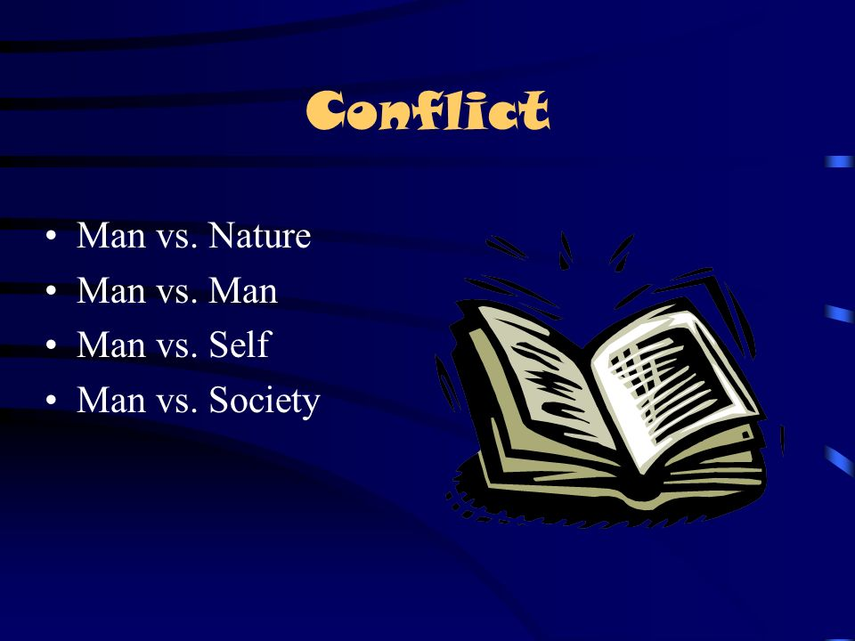Conflict Man vs. Nature Man vs. Man Man vs. Self Man vs. Society