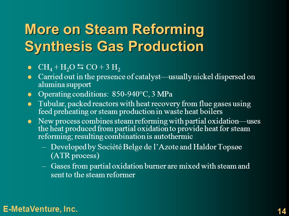 More on Steam Reforming Synthesis Gas Production