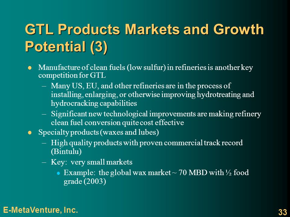 GTL Products Markets and Growth Potential (3)