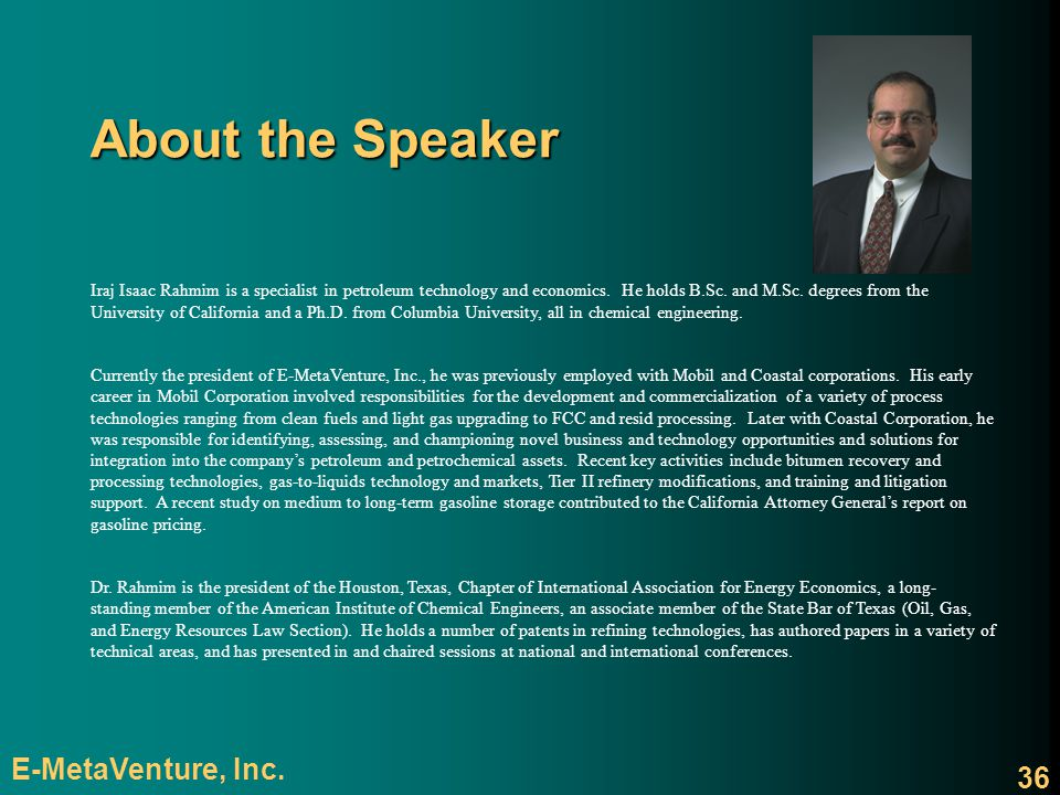 About the Speaker E-MetaVenture, Inc.