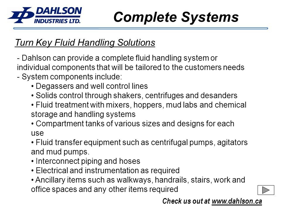 Complete Systems Turn Key Fluid Handling Solutions