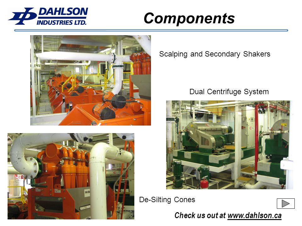 Components Scalping and Secondary Shakers Dual Centrifuge System