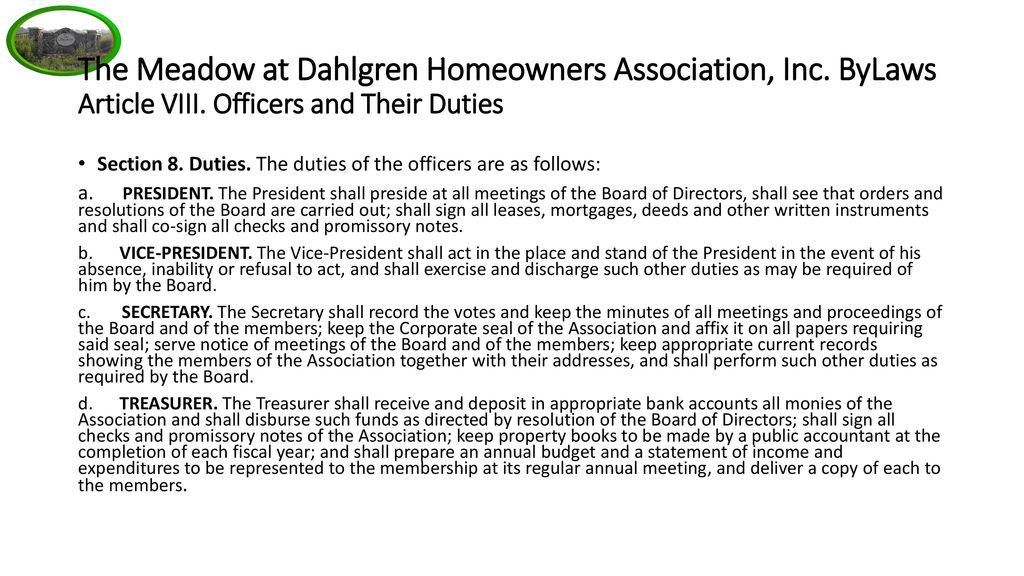 Meadows at Dahlgren Homeowners Association - ppt download