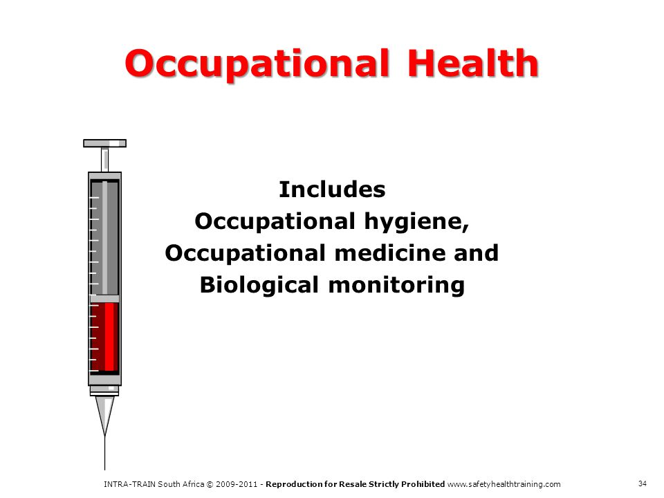 Occupational Health Includes Occupational hygiene, Occupational medicine and Biological monitoring