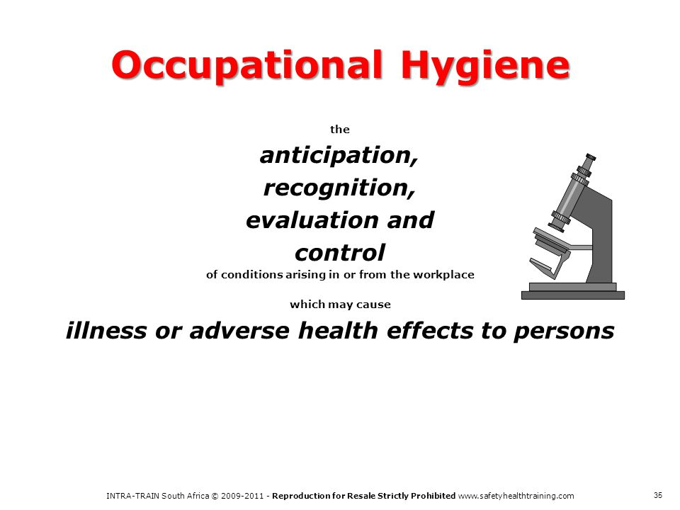 Occupational Hygiene anticipation, recognition, evaluation and control