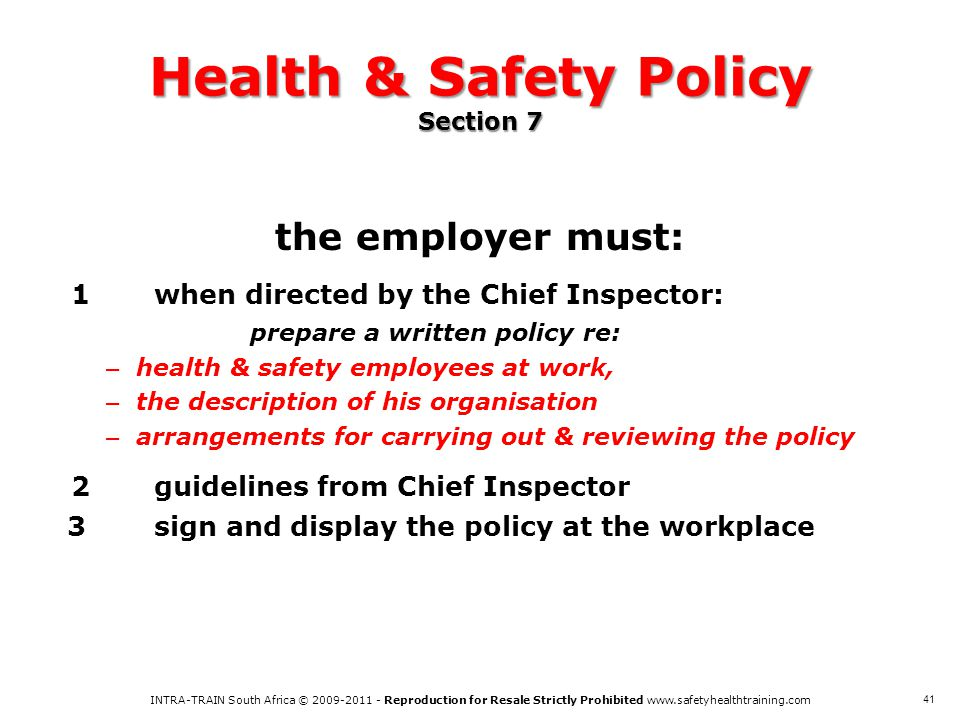 Health & Safety Policy Section 7