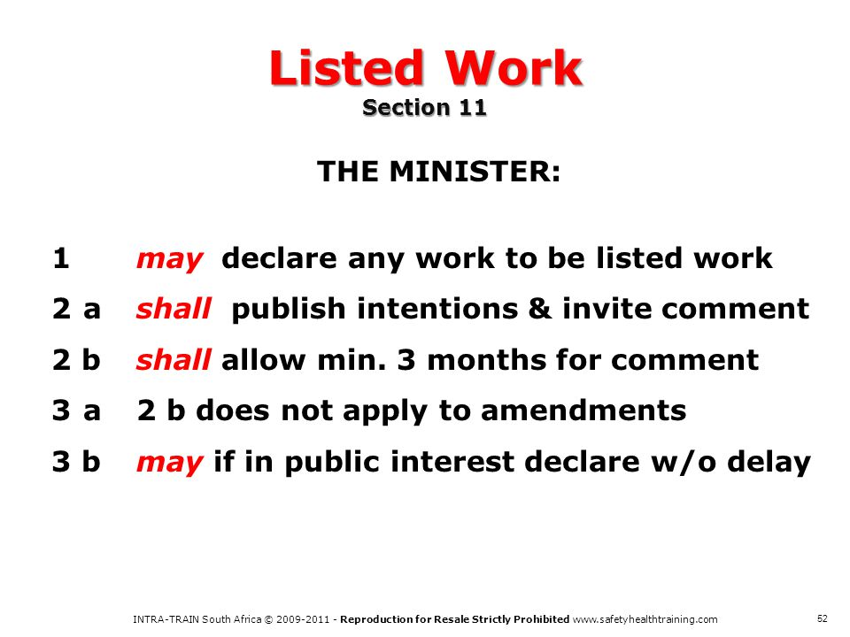 Listed Work Section 11