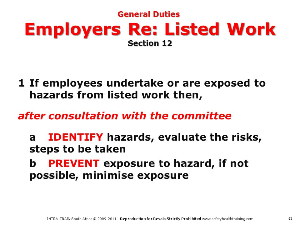 General Duties Employers Re: Listed Work Section 12