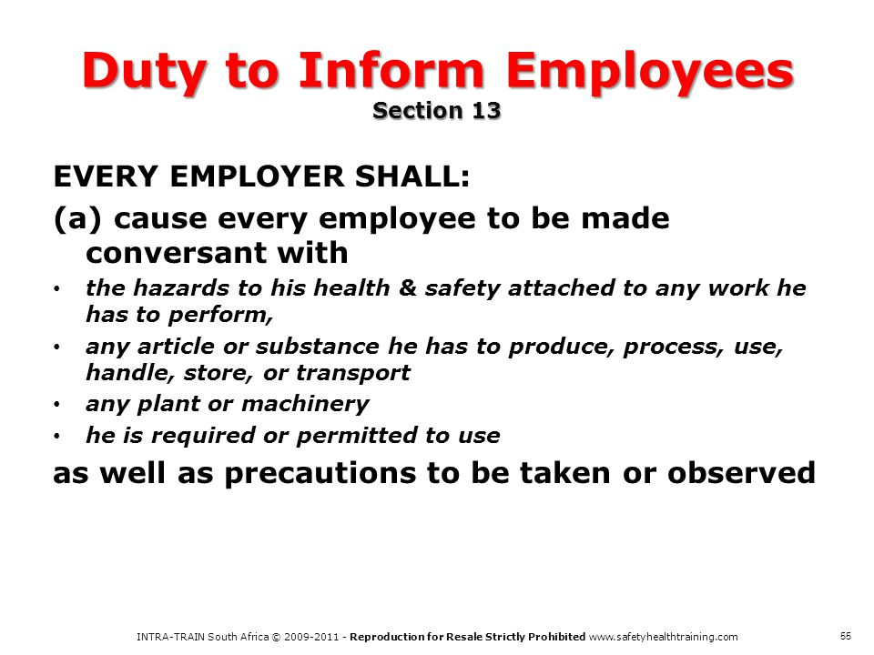 Duty to Inform Employees Section 13