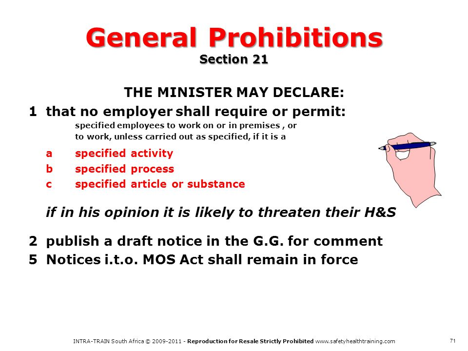 General Prohibitions Section 21