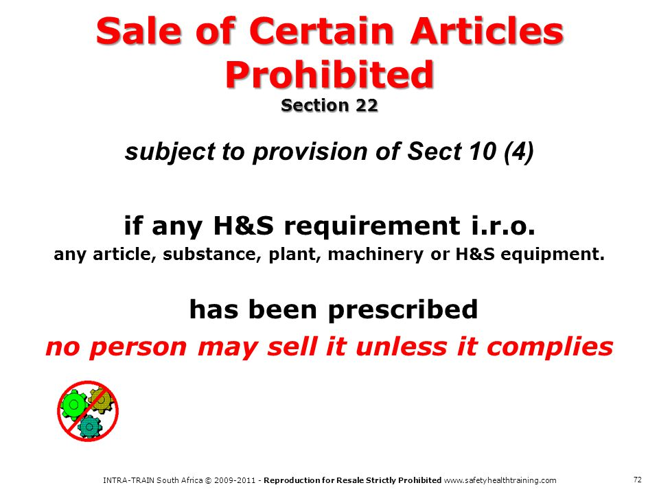 Sale of Certain Articles Prohibited Section 22