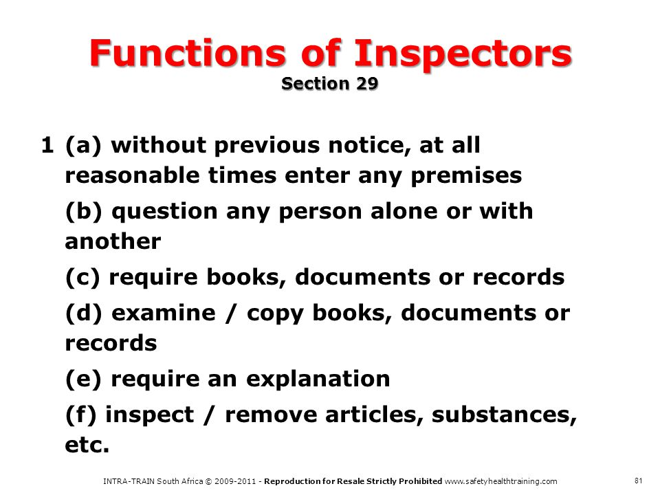 Functions of Inspectors Section 29