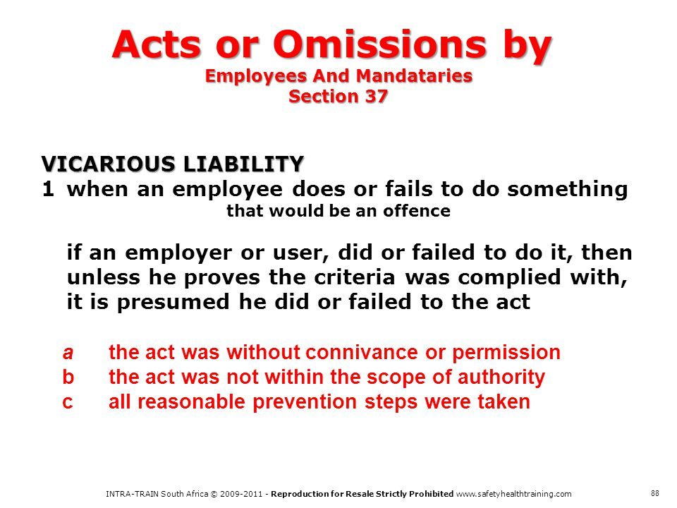 Acts or Omissions by Employees And Mandataries Section 37