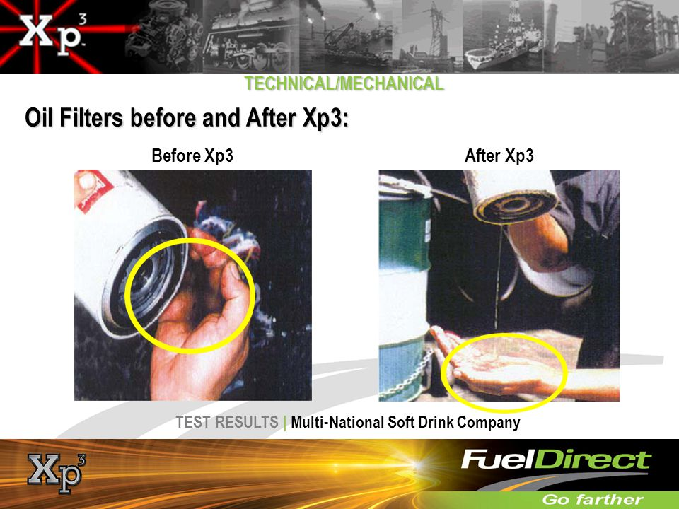 Oil Filters before and After Xp3: