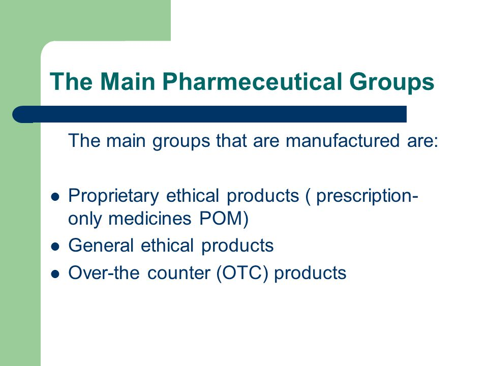 The Main Pharmeceutical Groups