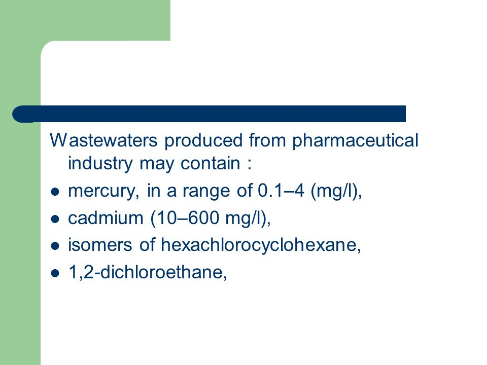 Wastewaters produced from pharmaceutical industry may contain :