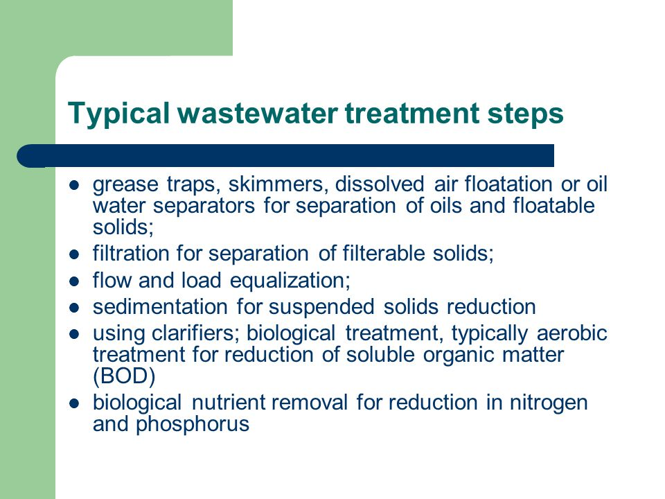 Typical wastewater treatment steps