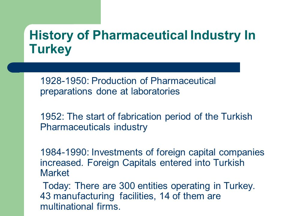 History of Pharmaceutical Industry In Turkey