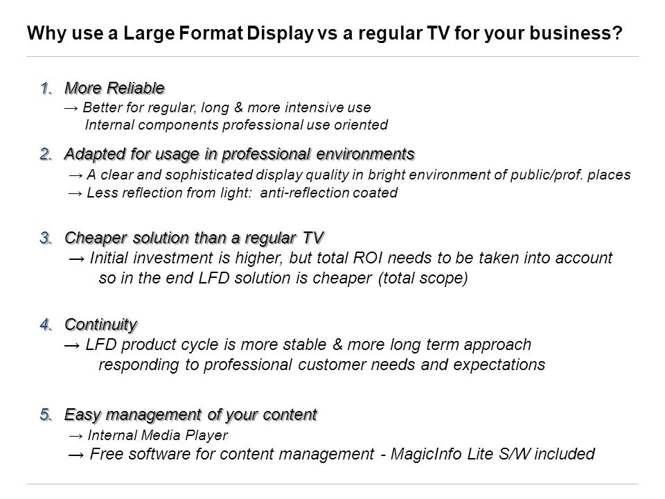 Why use a Large Format Display vs a regular TV for your business