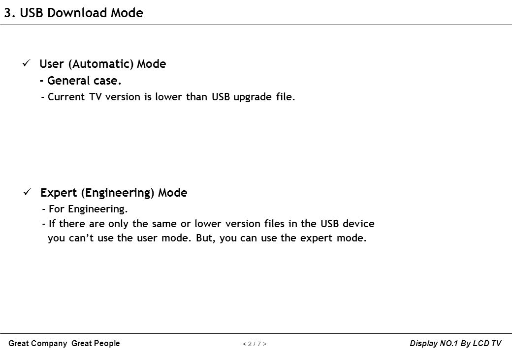 3. USB Download Mode User (Automatic) Mode - General case.