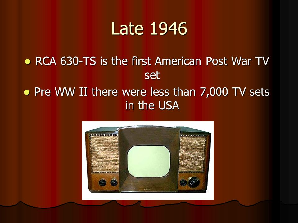 Late 1946 RCA 630-TS is the first American Post War TV set