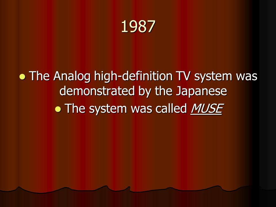 1987 The Analog high-definition TV system was demonstrated by the Japanese.