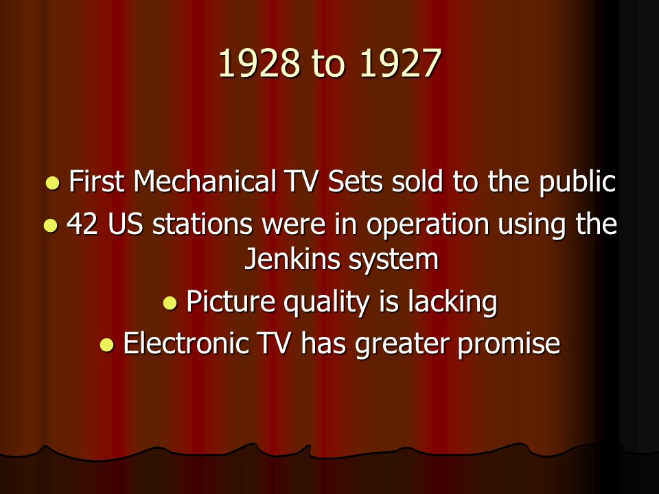 1928 to 1927 First Mechanical TV Sets sold to the public
