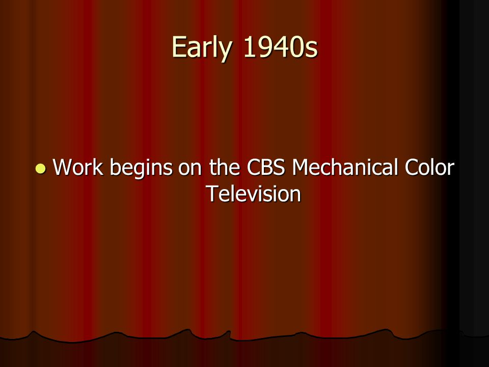 Work begins on the CBS Mechanical Color Television