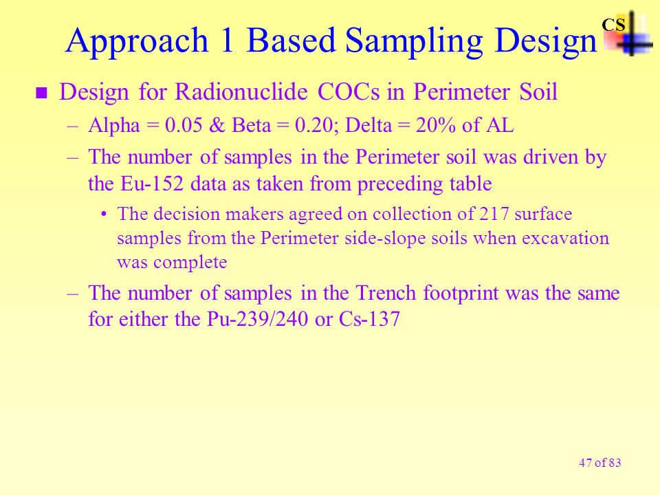 Approach 1 Based Sampling Design