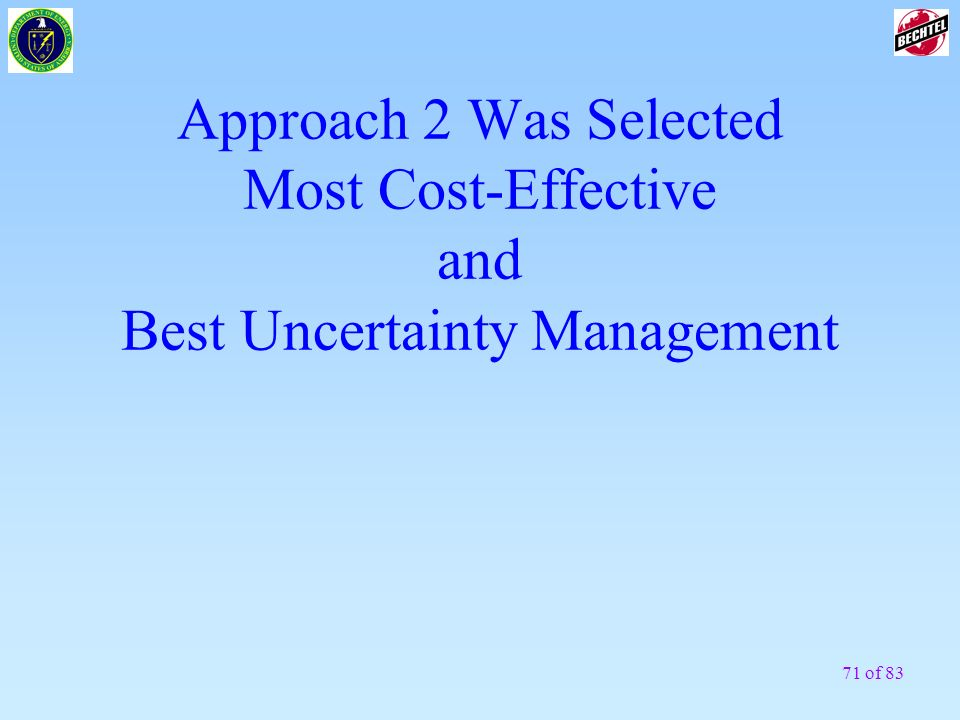 Approach 2 Was Selected Most Cost-Effective and Best Uncertainty Management