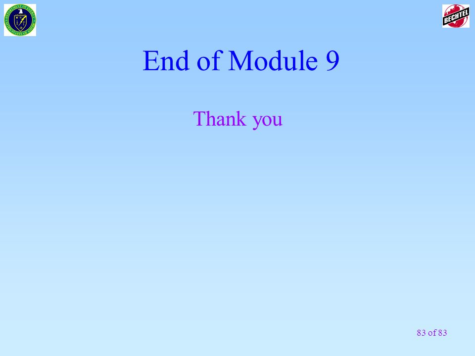 End of Module 9 Thank you