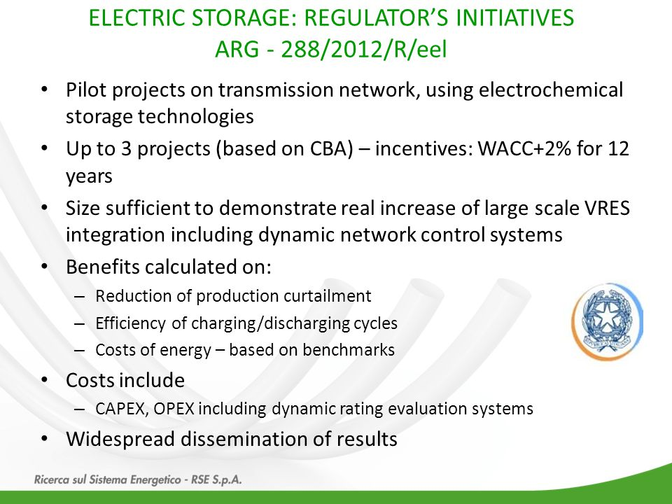 ELECTRIC STORAGE: REGULATOR'S INITIATIVES