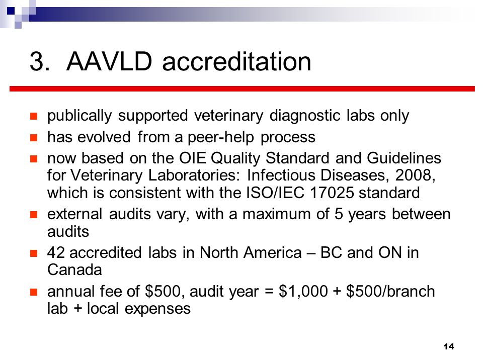 3. AAVLD accreditation publically supported veterinary diagnostic labs only. has evolved from a peer-help process.