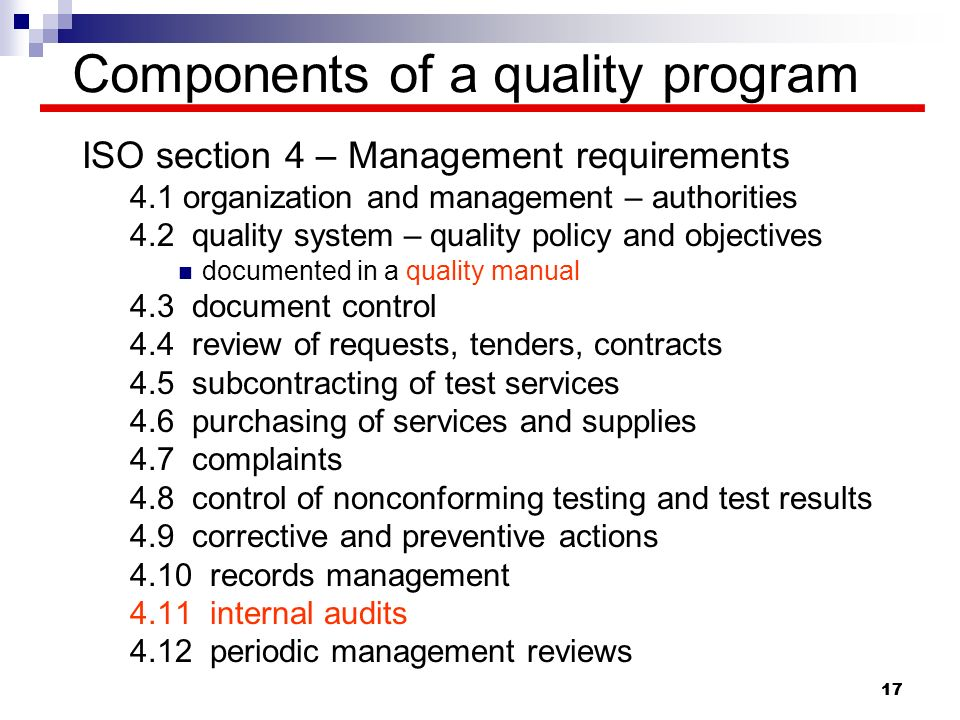 Components of a quality program
