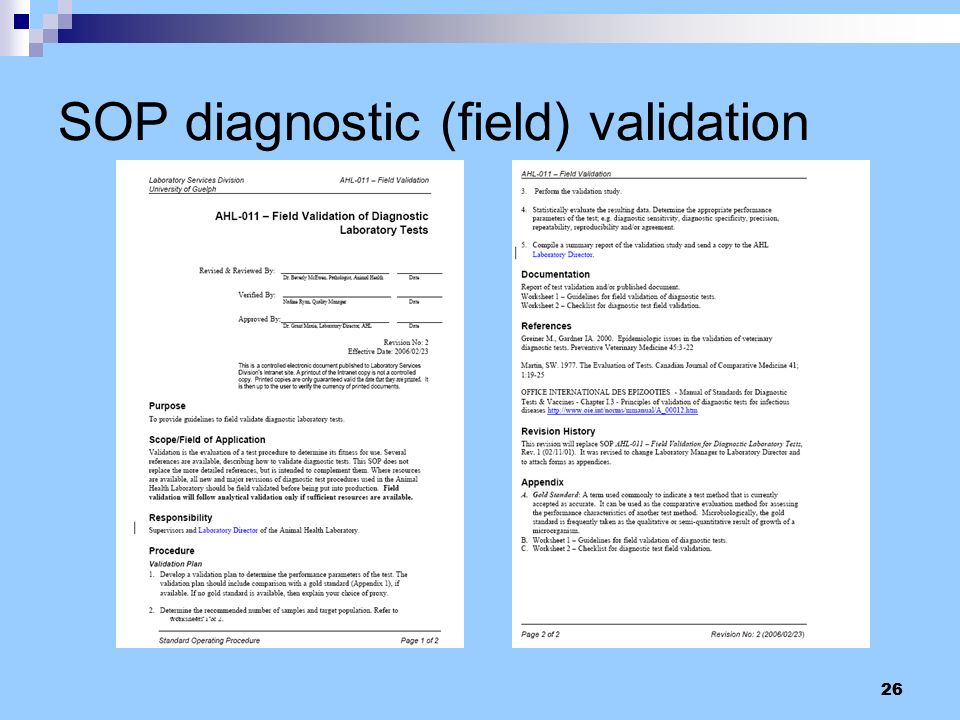 SOP diagnostic (field) validation