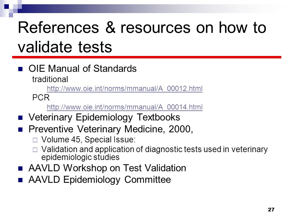 References & resources on how to validate tests