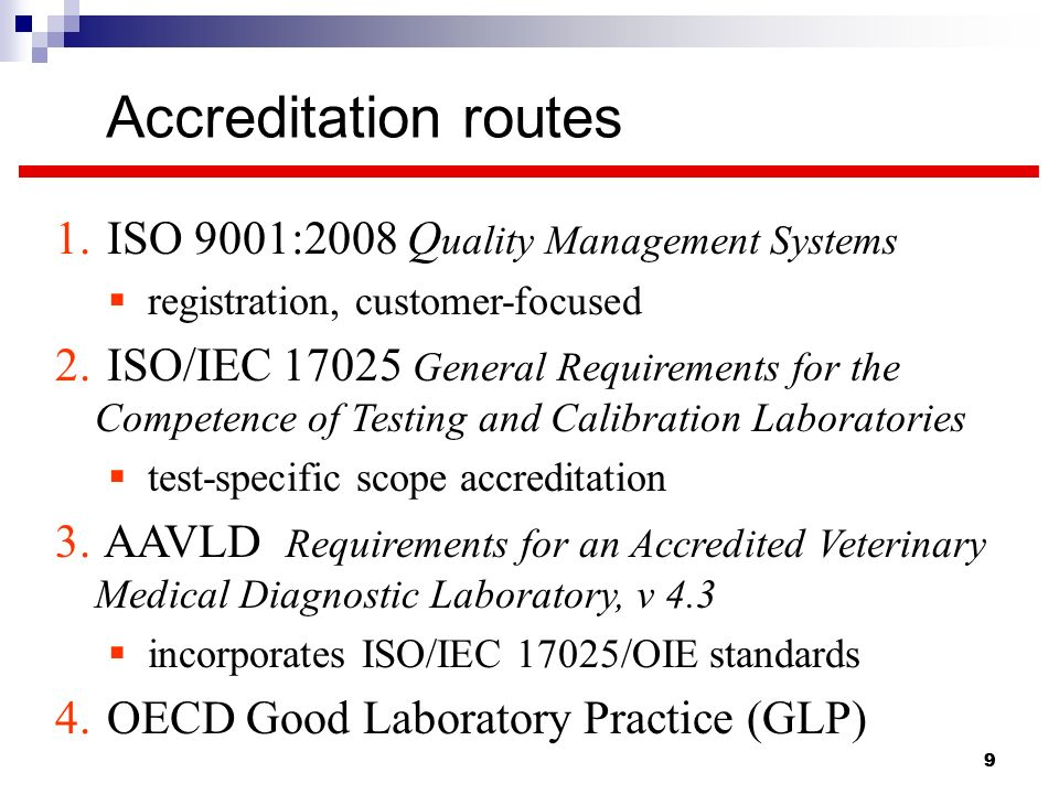 Accreditation routes ISO 9001:2008 Quality Management Systems