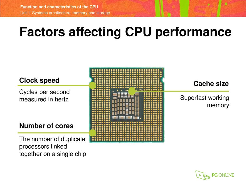 Objectives Describe how common characteristics of CPUs