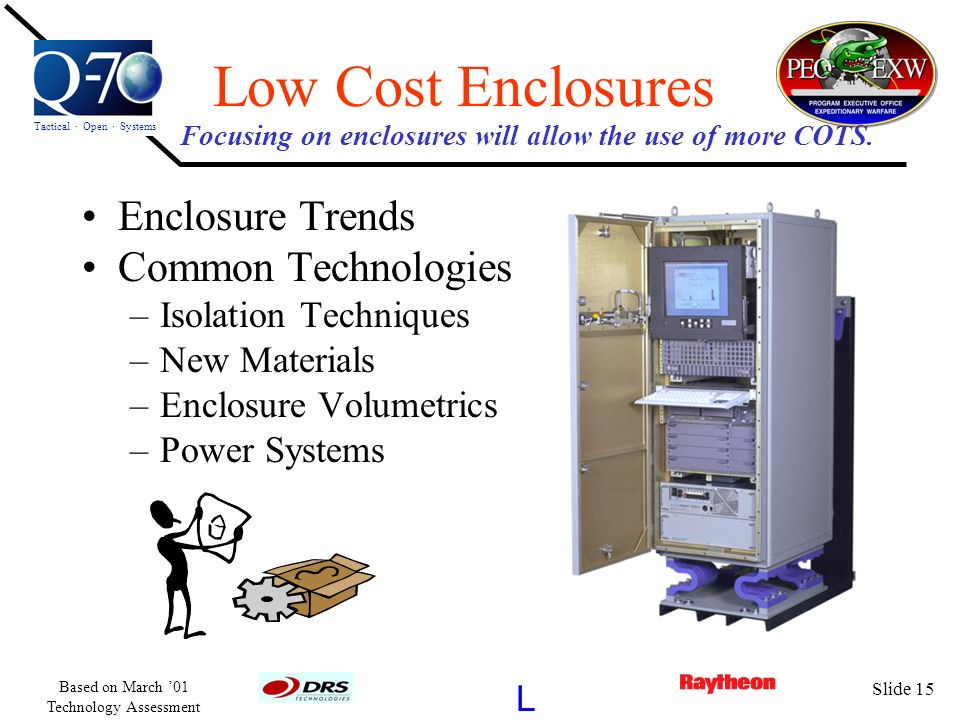 Focusing on enclosures will allow the use of more COTS.