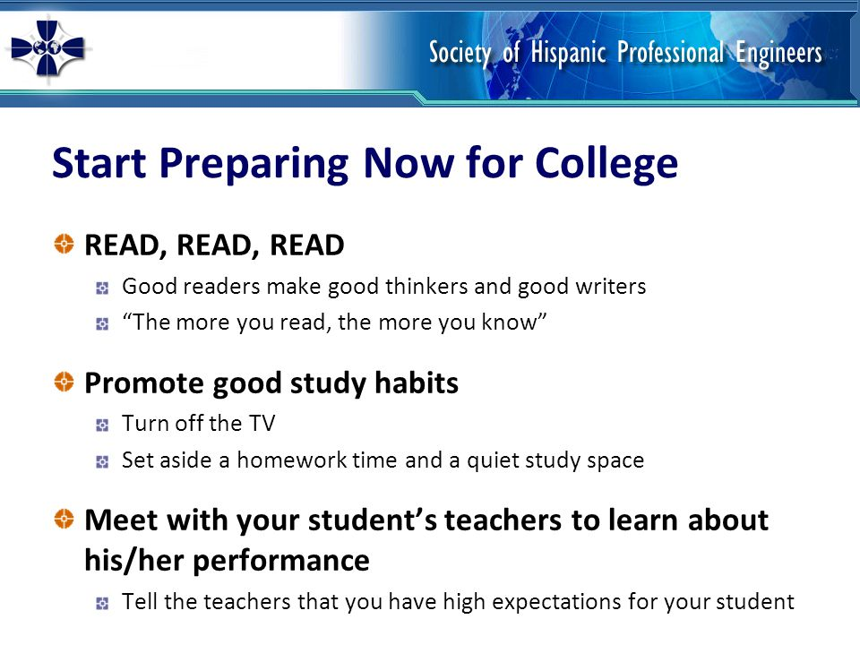 Start Preparing Now for College