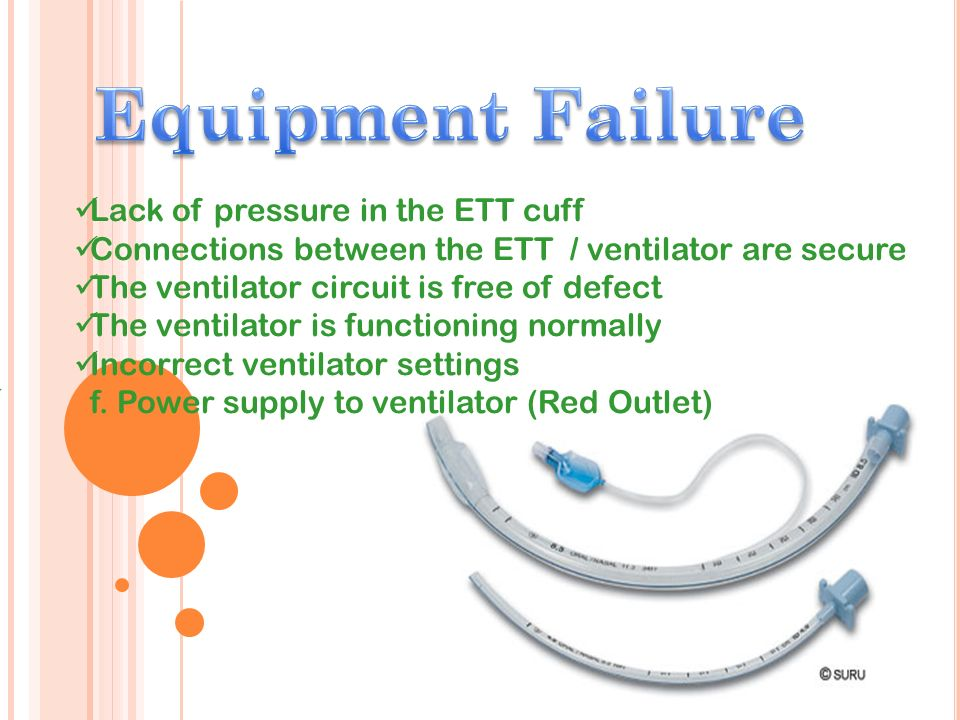 Equipment Failure Lack of pressure in the ETT cuff