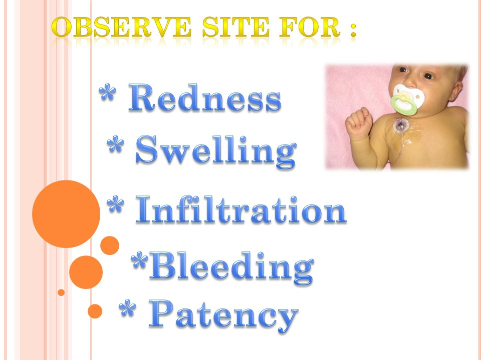 * Redness * Swelling * Infiltration *Bleeding * Patency
