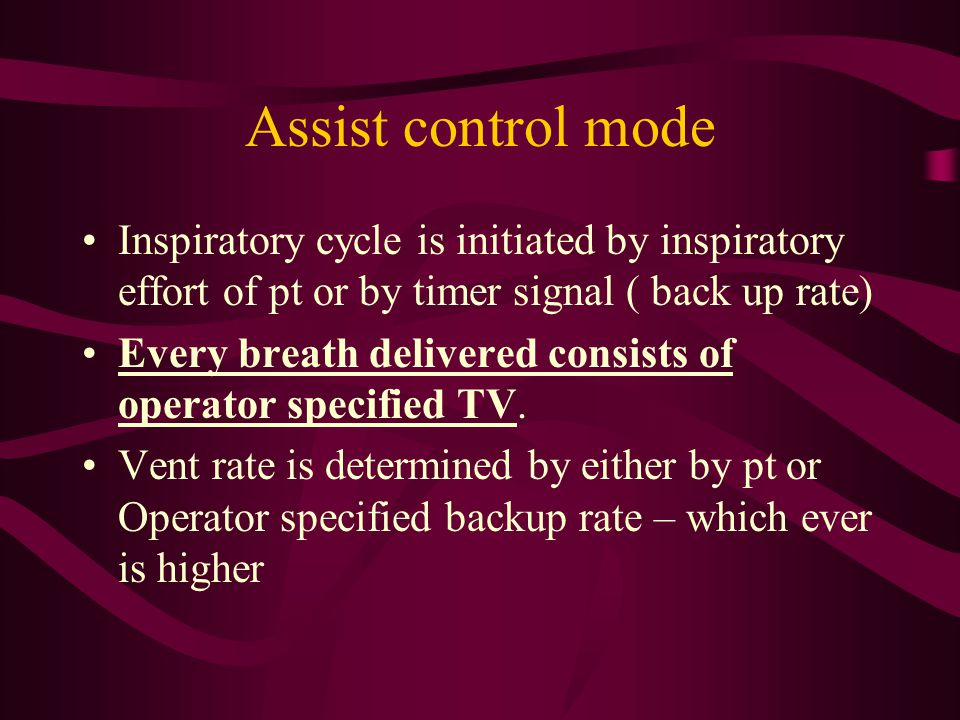 Assist control mode Inspiratory cycle is initiated by inspiratory effort of pt or by timer signal ( back up rate)